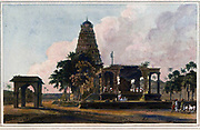 The Great Bull, An Hindoo Idol, At Tanjore [Thanjavur] From the book ' Oriental scenery: one hundred and fifty views of the architecture, antiquities and landscape scenery of Hindoostan ' by Thomas Daniell, and William Daniell, Published in London by the Authors July 1, 1812