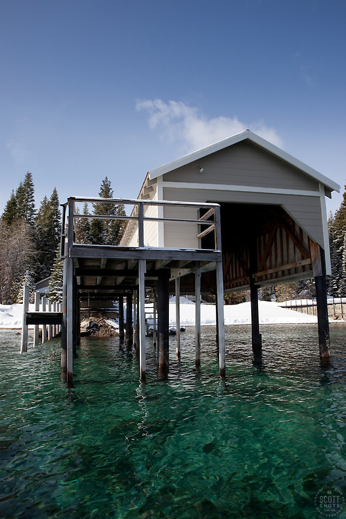 """""""Boat Dock on Lake Tahoe 1"""" - This old boat dock was photographed on the west shore of Lake Tahoe, CA."""