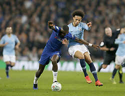 BRITAIN-LONDON-FOOTBALL-CARABAO CUP FINAL-CHELSEA VS MAN London.(190224) -- LONDON, Feb. 24, 2019  Chelsea's Antonio Rudiger (L) challenges Manchester City's Leroy Sane during the Carabao Cup Final match between Chelsea and Manchester City at Wembley Stadium in London, Britain on Feb. 24, 2019. Manchester City won 4-3 on penalties after a 0-0 draw.  FOR EDITORIAL USE ONLY. NOT FOR SALE FOR MARKETING OR ADVERTISING CAMPAIGNS. NO USE WITH UNAUTHORIZED AUDIO, VIDEO, DATA, FIXTURE LISTS, CLUB/LEAGUE LOGOS OR ''LIVE'' SERVICES. ONLINE IN-MATCH USE LIMITED TO 45 IMAGES, NO VIDEO EMULATION. NO USE IN BETTING, GAMES OR SINGLE CLUB/LEAGUE/PLAYER PUBLICATIONS. (Credit Image: © Matthew Impey/Xinhua via ZUMA Wire)