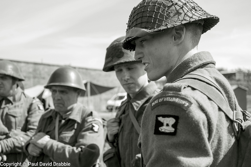 Reenactors from the Duke Of Wellingtons Regiment Living History Group wait to take part in a firing display <br /> <br />   04May 2015<br />   Image © Paul David Drabble <br />   www.pauldaviddrabble.co.uk
