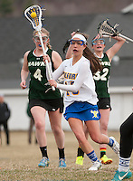 Gilford's Janette Page takes a shot on goal during NHIAA Division III Lacrosse with Hopkinton at Gilford Meadows Field Friday afternoon.  (Karen Bobotas/for the Laconia Daily Sun)