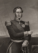 Ferdinand Alphonse Hamelin (1796-1864) French admiral. During the Crimean (Russo-Turkish) War (1853-1856) he commanded the French fleet co-operating with British at the bombarding of Odessa (1854). Engraving.