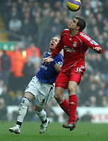 Photo: Paul Thomas.<br /> Liverpool v Everton. The Barclays Premiership. 03/02/2007.<br /> <br /> Andy Johnson (L) of Everton battles Daniel Agger.