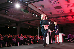March 28, 2019 - London, UK, UK - London, UK. Liz Truss MP - Chief Secretary to the Treasury leaves after speaking at the British Chambers of Commerce (BCC) Annual Conference. British Chambers of Commerce Annual Conference brings together the UK Chamber Network including  business decision-makers, policy makers and the Chamber network aiming to emphasise the positive role that companies play in stabilising the British economy in a time of Brexit, uncertainty and change. (Credit Image: © Dinendra Haria/London News Pictures via ZUMA Wire)