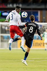 June 13, 2018 - San Jose, CA, U.S. - SAN JOSE, CA - JUNE 13: New England Revolution Defender Jalil Anibaba (3) heads the ball over San Jose Earthquakes Forward Chris Wondolowski (8) during the MLS game between the New England Revolution and the San Jose Earthquakes on June 13, 2018, at Avaya Stadium in San Jose, CA. The game ended in a 2-2 tie. (Photo by Bob Kupbens/Icon Sportswire) (Credit Image: © Bob Kupbens/Icon SMI via ZUMA Press)