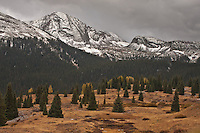 13,077 ft. Snowdon Peak of the West Needle Mountains during the first snow storm of the autumn season. Viewed from the top of Molas pass in the San Juan Mountains.  Colorado, USA.