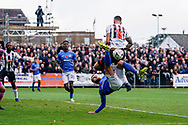 Portsmouth overhead kick is blocked by Ryheem Sheckleford of Maidenhead United during the The FA Cup 1st round match between Maidenhead United and Portsmouth at York Road, Maidenhead, United Kingdom on 10 November 2018.