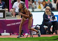 Athletics - 2017 IAAF London World Athletics Championships - Day Three, Morning Session<br /> <br /> Heptathlon Women - Javelin Throw<br /> <br /> Nafissatou Thiem (Belguim) watches the flight of her throw at the London Stadium<br /> <br /> <br /> COLORSPORT/DANIEL BEARHAM