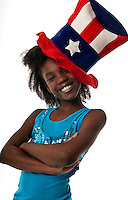 Little african american girl celebrating 4th of July.