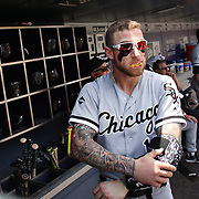 NEW YORK, NEW YORK - June 01:  Second baseman  Brett Lawrie #15 of the Chicago White Sox in the dugout preparing to bat  wearing his mouth guard which makes it look like he has vampire fangs. The look has earned him the nickname 'The Canadian Vampire'. Chicago White Sox  Vs New York Mets regular season MLBgame at Citi Field on June 01, 2016 in New York City. (Photo by Tim Clayton/Corbis via Getty Images)