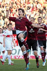 22.10.2011, easy Credit Stadion, Nuernberg, GER, 1.FBL, 1. FC Nürnberg / Nuernberg vs VfB Stuttgart, im Bild:.Jubel Philipp Wollscheid (Nuernberg #38) nach seinem 2-1 Führungstreffer.// during the Match GER, 1.FBL, 1. FC Nürnberg / Nuernberg vs VfB Stuttgart on 2011/10/22, easy Credit Stadion, Nuernberg, Germany..EXPA Pictures © 2011, PhotoCredit: EXPA/ nph/  Will       ****** out of GER / CRO  / BEL ******