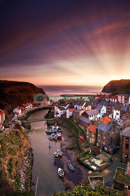 July 21, 2019 - Cityscape At Sunset, Staithes, Yorkshire, England (Credit Image: © John Short/Design Pics via ZUMA Wire)