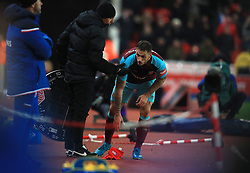 """West Ham United's Marko Arnautovic has an argument with the crowd as he is substituted off the pitch during the Premier League match at the bet365 Stadium, Stoke. PRESS ASSOCIATION Photo. Picture date: Saturday December 16, 2017. See PA story SOCCER Stoke. Photo credit should read: Mike Egerton/PA Wire. RESTRICTIONS: EDITORIAL USE ONLY No use with unauthorised audio, video, data, fixture lists, club/league logos or """"live"""" services. Online in-match use limited to 75 images, no video emulation. No use in betting, games or single club/league/player publications."""