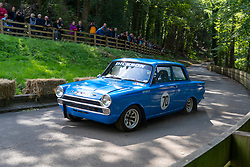 Boness Revival hillclimb motorsport event in Boness, Scotland, UK. The 2019 Bo'ness Revival Classic and Hillclimb, Scotland's first purpose-built motorsport venue, it marked 60 years since double Formula 1 World Champion Jim Clark competed here.  It took place Saturday 31 August and Sunday 1 September 2019. 70. Garry Dickson Ford Cortina.