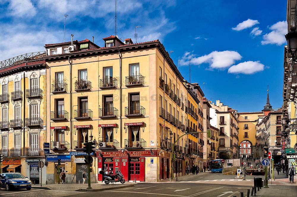 Calle Toledo directly outside of the Plaza Mayor, Madrid, Spain