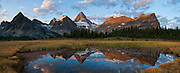 Mount Assiniboine (3618 meters / 11,870 feet), Mount Assiniboine Provincial Park, British Columbia, Canada. This is part of the Canadian Rocky Mountain Parks World Heritage Site declared by UNESCO in 1984. Panorama stitched from 4 images.