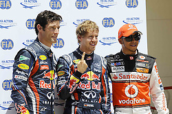 25.06.2011, Valencia-Street-Circuit, Silverstone, ESP, Großer Preis von Europa, Valencia, RACE 08, im Bild  Mark Webber (AUS), Red Bull Racing - Sebastian Vettel (GER), Red Bull Racing - Lewis Hamilton (GBR), McLaren F1 Team    EXPA Pictures © 2011, PhotoCredit: EXPA/ nph/  Dieter Mathis   EXPA Pictures © 2011, PhotoCredit: EXPA/ nph/  Dieter Mathis        ****** only for AUT, POL & SLO ******