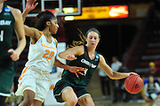 March 18, 2016; Tempe, Ariz;  Green Bay Phoenix guard Kaili Lukan (4) tries to dribble past Tennessee Lady Volunteers guard Te'a Cooper (20) during a game between No. 7 Tennessee Lady Volunteers and No. 10 Green Bay Phoenix in the first round of the 2016 NCAA Division I Women's Basketball Championship in Tempe, Ariz.