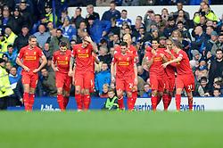 Liverpool's Luis Suarez celebrates his goal. - Photo mandatory by-line: Dougie Allward/JMP - Tel: Mobile: 07966 386802 23/11/2013 - SPORT - Football - Liverpool - Merseyside derby - Goodison Park - Everton v Liverpool - Barclays Premier League