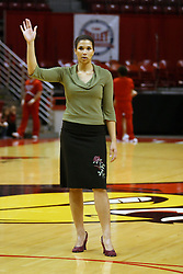 17 December 2006: Assistant coach Tianna Kirkland calls for the ball during pre-game warmups. In a non-conference game, the Eagles of Eastern Michigan  lost by a score of 68-55 to the Redbirds in Redbird Arena on the campus of Illinois State University in Normal Illinois.<br />