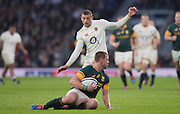 """Twickenham, United Kingdom.  Jonny MAY, """"moves in"""" on Ruan COMBRINCK, during Old Mutual Wealth Series match.: England vs South Africa, at the RFU Stadium, Twickenham, England, Saturday, 12.11.2016<br /> <br /> [Mandatory Credit; Peter Spurrier/Intersport-images]"""