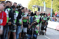 Photographers during the Men's Elite Road Race at the UCI Road World Championships on September 25, 2011 in Copenhagen, Denmark. (Photo by Marjan Kelner / Sportida Photo Agency)