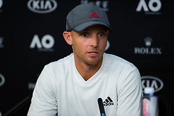 January 20, 2019 - Melbourne, AUSTRALIA - Mat Cloer, coach of Danielle Collins, talks to the media after her fourth-round match at the 2019 Australian Open Grand Slam tennis tournament (Credit Image: © AFP7 via ZUMA Wire)