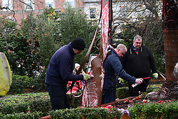 November 22, 2018 - Dublin, Ireland - First World War scrap metal sculpture, the Haunting Soldier, installed in Dublin Stephens Green park  earlier this month, has been vandalised. (Credit Image: © John Rooney/Pacific Press via ZUMA Wire)