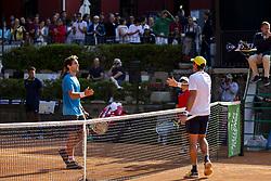 June 23, 2018 - L'Aquila, Italy - Facundo Bagnis (R) and Guilherme Clezar (L) during match between Facundo Bagnis (ARG) and Guilherme Clezar (BRA) during Men Semi-Final match at the Internazionali di Tennis Citt dell'Aquila (ATP Challenger L'Aquila) in L'Aquila, Italy, on June 23, 2018. (Credit Image: © Manuel Romano/NurPhoto via ZUMA Press)