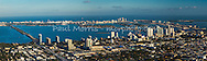 Panorama of Edgewater, Midtown and downtown Miami from the air looking east to Miami Beach and the Port of Miami
