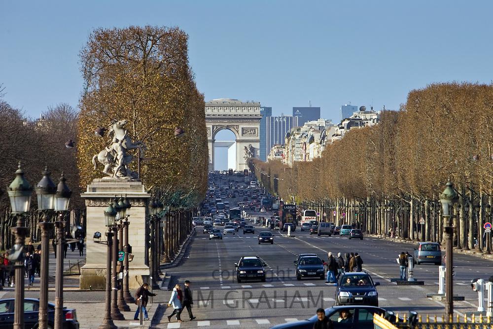 Champs-Élysées to the Arc de Triomphe, Paris, France