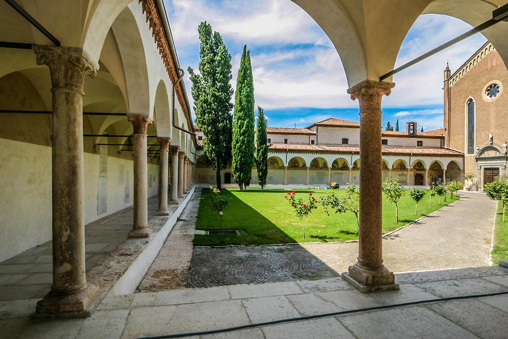 The inner courtyard of San Bernardino church in Verona, Italy.