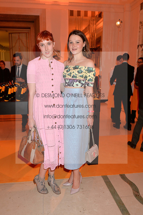 Left to right, PAULA GOLDSTEIN and AMBER ATHERTON at the Veuve Clicquot Business Woman Awards held at Claridge's, Brook Street, London on 11th May 2015.
