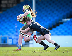 Taylor Black of Exeter Chiefs attempts a tackle on Emily Robinson of Harlequins - Mandatory by-line: Andy Watts/JMP - 06/02/2021 - Sandy Park - Exeter, England - Exeter Chiefs Women v Harlequins Women - Allianz Premier 15s