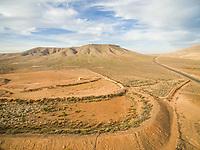 Aerial voew of dryland in Fuerteventura, Canary Islands.