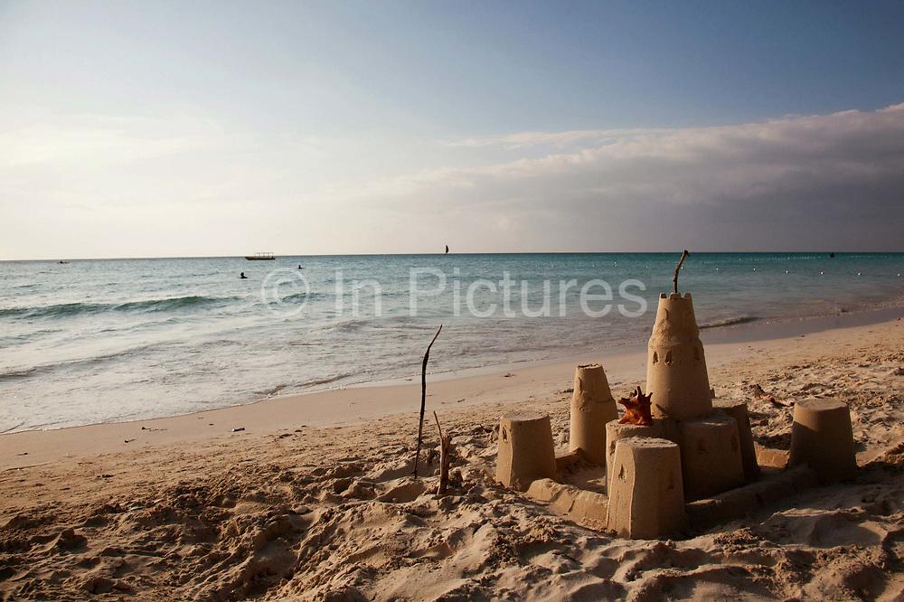 Sandcastle on seven mile beach, Negril, Jamaica. .