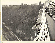 First Dangerous Sports club bungee jump. Clifton Suspension Bridge. Bristol. 1 April 1979. Photograph by Dafydd Jones. 66 Stockwell Park Rd. London Sw9 0Da. 0207 733 0108