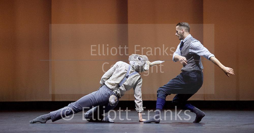 Balletboyz<br /> Life<br /> at Sadler's Wells, London, Great Britain <br /> Rabbit by  Pontus Lidberg <br /> rehearsal <br /> 20th April 2016 <br /> <br /> <br /> Bradley Waller<br /> Harry Price<br /> <br /> <br /> Photograph by Elliott Franks <br /> Image licensed to Elliott Franks Photography Services