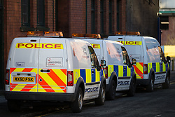 © Licensed to London News Pictures . 04/01/2015 . Manchester , UK . Police Crime Scene Investigation vans on Charles Street , central Manchester , where a 26-year-old man was found fatally stabbed in the early hours of this morning (4th January 2014) . Police report being called to the scene by an ambulance crew , where they found a crowd of people on the street following a fight that spilled from a nearby club on to the street . Photo credit : Joel Goodman/LNP
