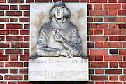 Plaque in honour of Polish astronomer Nicolaus Copernicus in Malbork Castle, Poland.