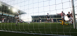 Hamilton's Alistair Crawford and Hamilton's Mickeal Antoine-Curier have their shot blocked by Falkirk's Will Vaulks.<br /> Falkirk 0 v 0 Hamilton, Scottish Championship game at The Falkirk Stadium. © Michael Schofield 2014.