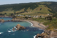 aerial view of Elk on the Mendocino Coast of Northern California