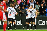 Fotball <br /> 25. september 2011 <br /> Eliteserien <br /> 24. runde Tippeligaen 2011 <br /> Sogndal - SK Brann 1 - 0<br /> Fosshaugane Campus, Sogndal<br /> <br /> Foto: Rune Sjøberg, Digitalsport <br /> <br /> Målscorer Ørjan Hopen gratuleres av Mats Solheim