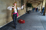 France, Paris, Mime busking for tips on the Place des Vosges