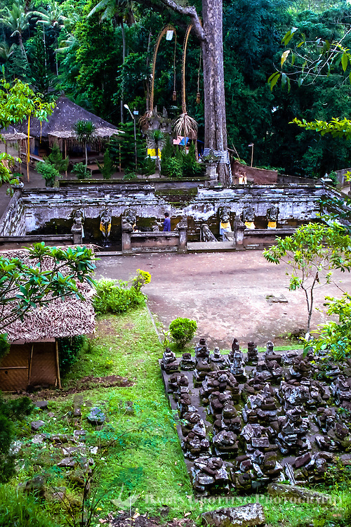Bali, Gianyar, Goa Gajah. The elephant cave. A view over the old bathing pools. Behind the pools a large, sacred tree. The caves entrance is located to the left.