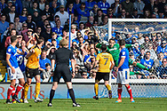 Cambridge United Midfielder, Luke Berry (8) curls in a free kick to score a goal 2-1 during the EFL Sky Bet League 2 match between Portsmouth and Cambridge United at Fratton Park, Portsmouth, England on 22 April 2017. Photo by Adam Rivers.