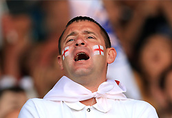 An England fan in the stands shows his support during the International Friendly match at Elland Road, Leeds.