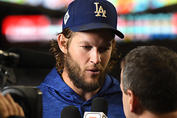 October 24, 2017 - Los Angeles, California, U.S. - Los Angeles Dodgers starting pitcher Clayton Kershaw speaks with the media after defeating the Houston Astros 3-1 during game one of a World Series baseball game at Dodger Stadium on Tuesday, Oct. 24, 2017 in Los Angeles. (Photo by Keith Birmingham, Pasadena Star-News/SCNG) (Credit Image: © San Gabriel Valley Tribune via ZUMA Wire)