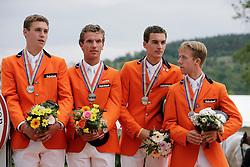 Team NED<br /> Michel hendrix, Wesley Heydens, Jack Ansems, Maikel van der Vleuten<br /> European Championship Juniors - Praha 2008<br /> Photo © Hippo Foto