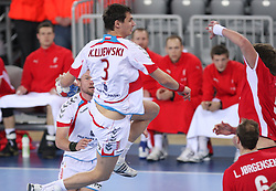 Krzysztof Lijewski (3) of Poland during 21st Men's World Handball Championship 2009 Bronze medal match between National teams of Poland and Denmark, on February 1, 2009, in Arena Zagreb, Zagreb, Croatia.  (Photo by Vid Ponikvar / Sportida)
